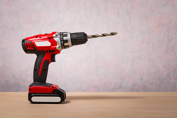 Screwdriver, Cordless Drill Screwdriver, Cordless Drill on wood table cordless phone stock pictures, royalty-free photos & images