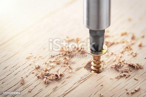 istock screwdriver screw in a wood oaks plank 1224020064