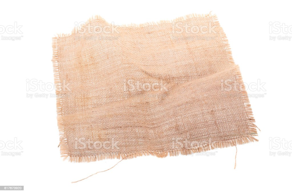 screwed sackcloth woven texture pattern ioslated on white background stock photo