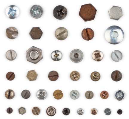 Screws and bolts in different sizes, shapes and conditions. Every one with individual clipping path.