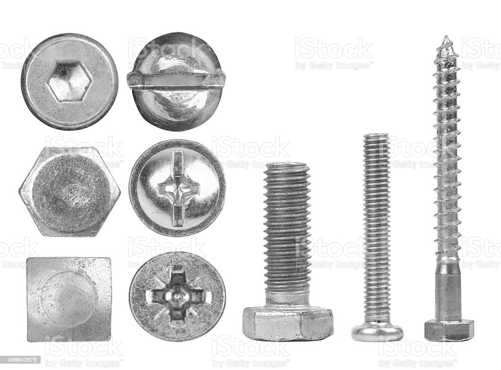 Screws and heads stock photo