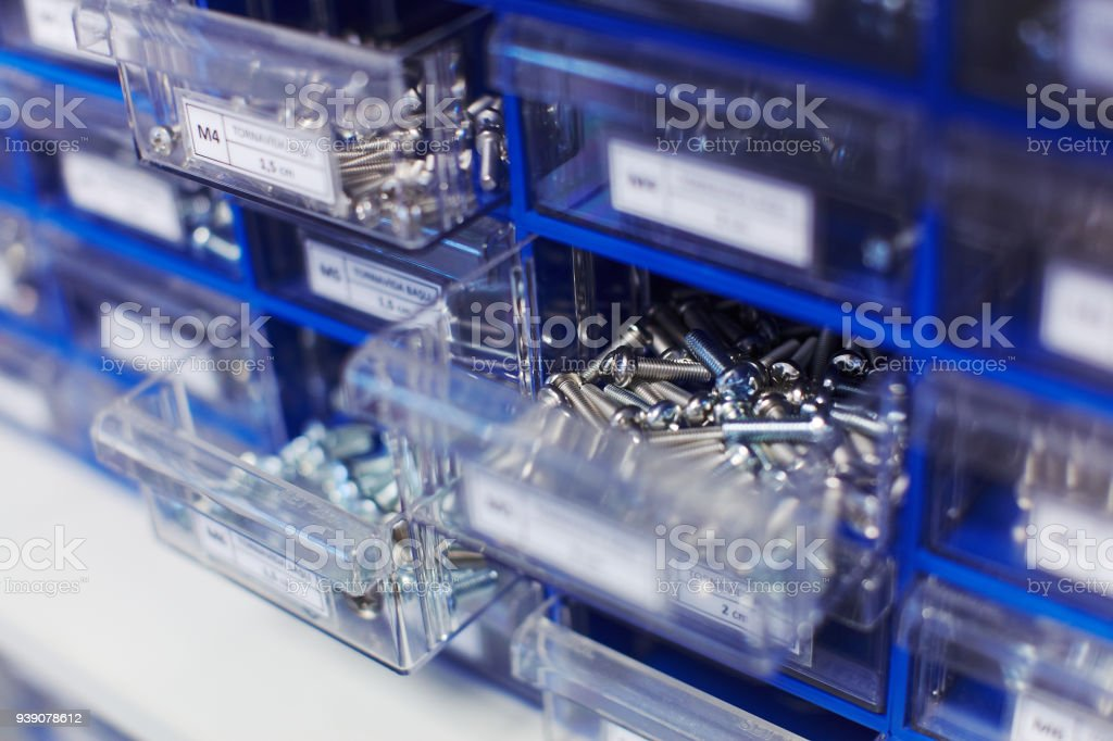 Screws and other details in workshop very detailed sorted for useful usage stock photo