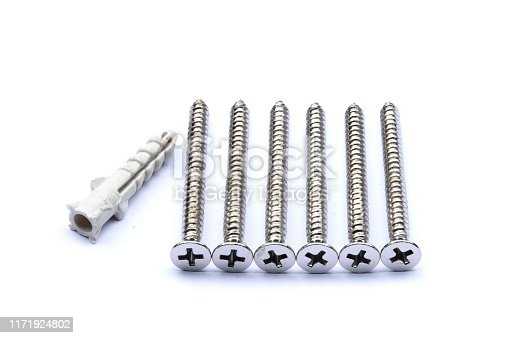1143685700istockphoto Screws and plastic anchor , tools for construction on white background,isolate. 1171924802