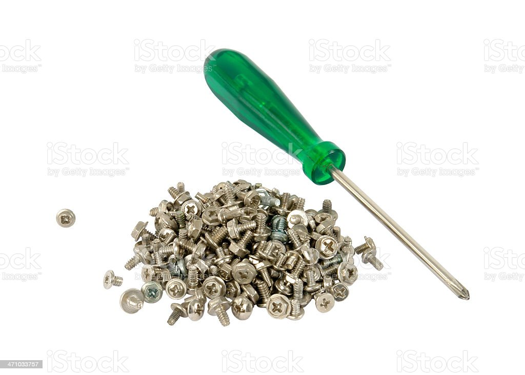 Screws and screwdriver royalty-free stock photo
