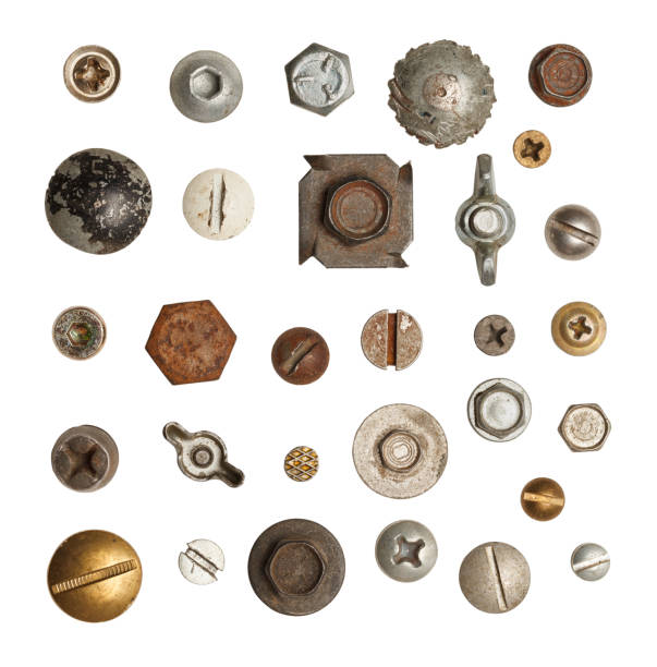 Screws Bolts Metal, Wood and Drywall Screws and Bolts  Isolated on White Background. bolt fastener stock pictures, royalty-free photos & images