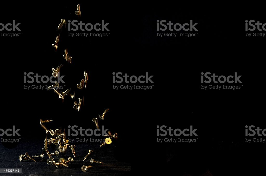 screws fall with black royalty-free stock photo