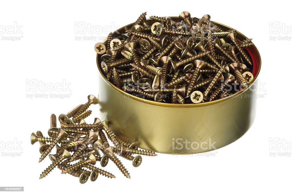 Screws in a can royalty-free stock photo