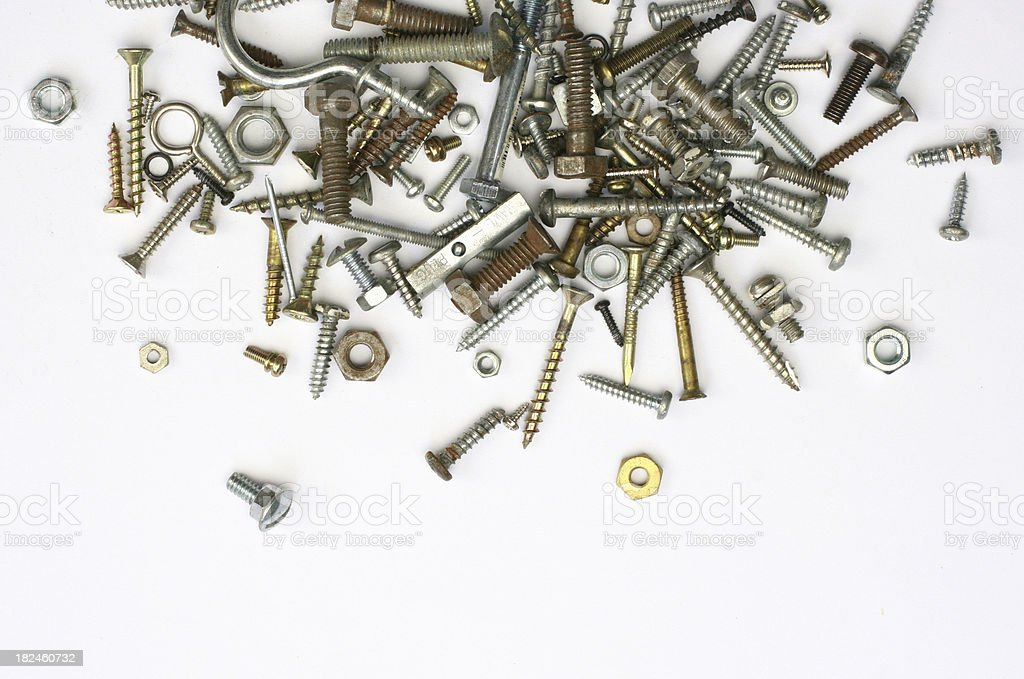 Screws, nuts and bolts royalty-free stock photo
