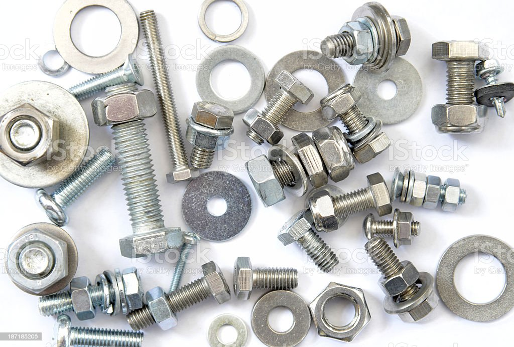 Screws Nuts Bolts and Washers. royalty-free stock photo