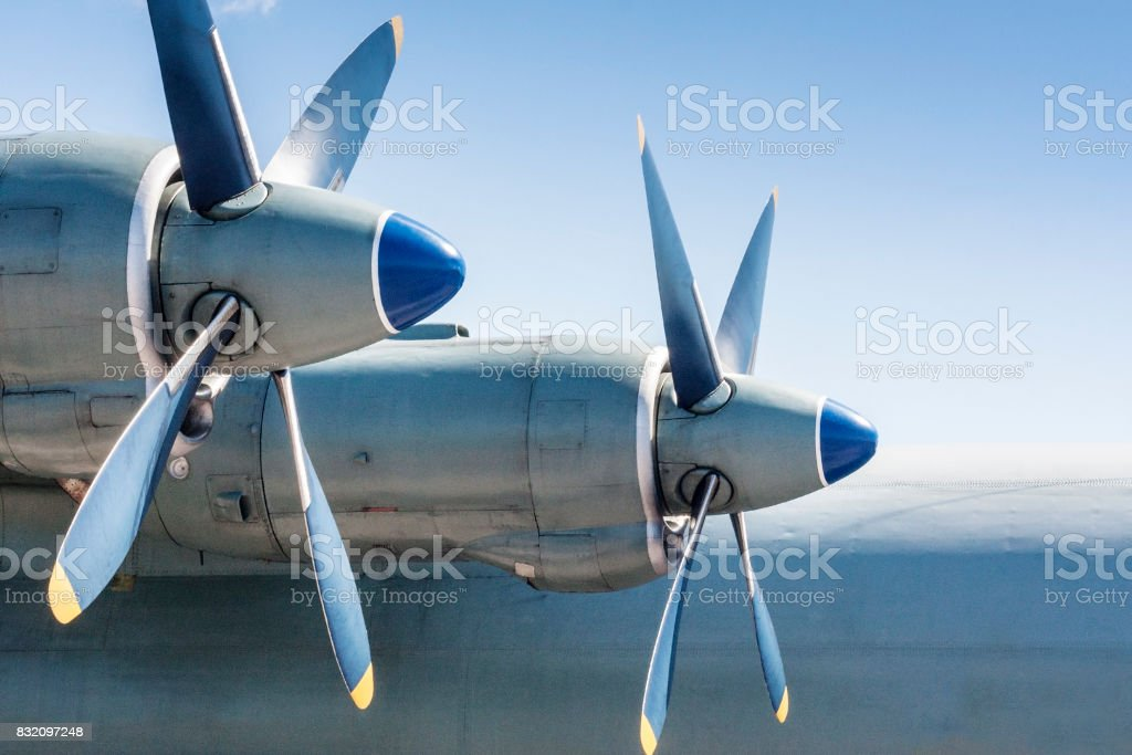 Screws of military huge aircraft. stock photo