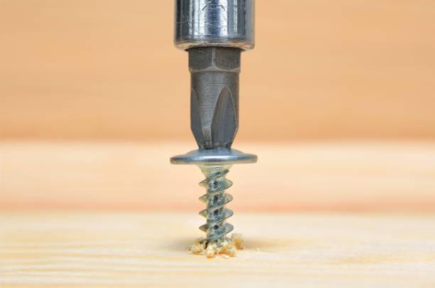 Screws screwdriver twist in wooden board. stock photo