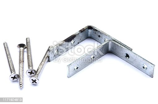 1143685700istockphoto Screws,anchor and steel corner, tools for construction on white background,isolate. 1171924813