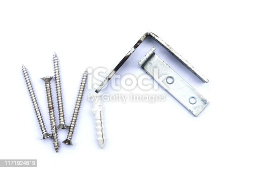 1143685700istockphoto Screws,anchor and steel corner, tools for construction on white background,isolate. 1171924819