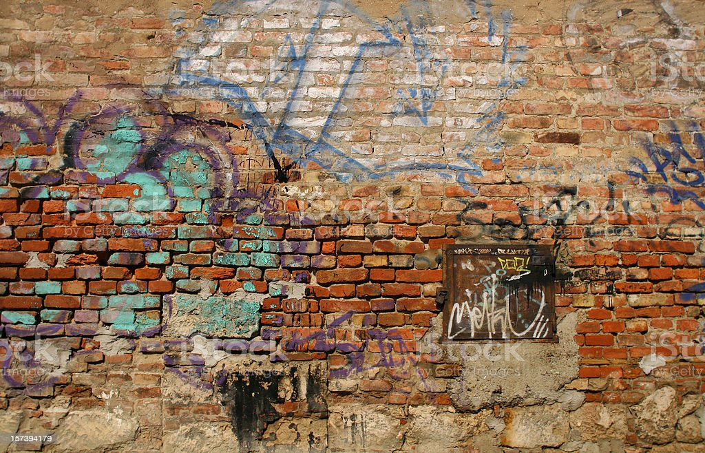 Scribbled Brick Wall stock photo