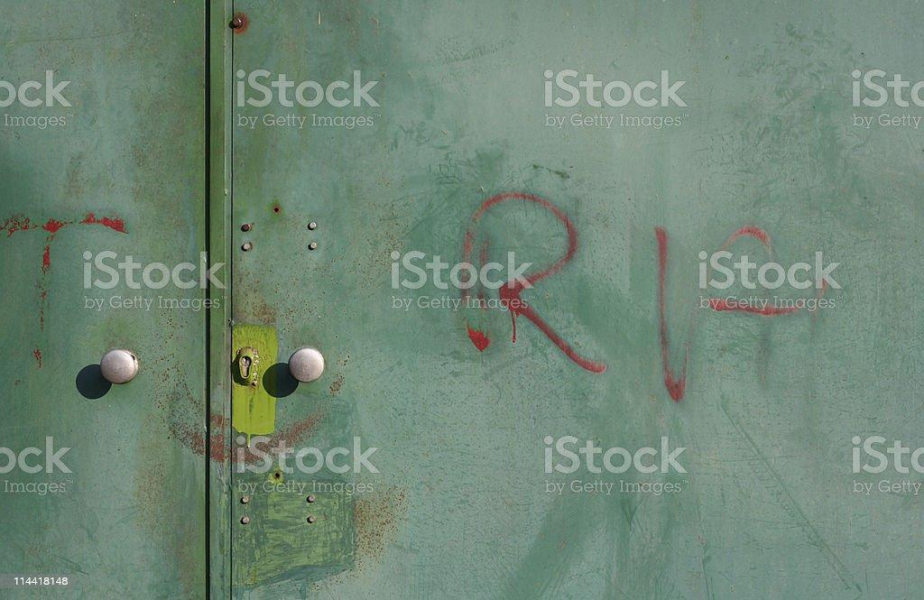 Scribbled Garage Door stock photo
