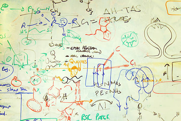 Scribblings on a Chemistry Whiteboard stock photo