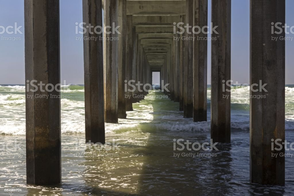 Scripps Pier on La Jolla Shores north of San Diego stock photo