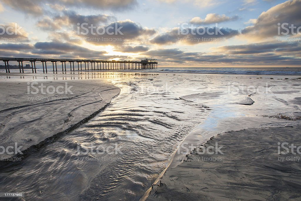 Scripps Pier, San Diego, California Sunset Cloudscape stock photo