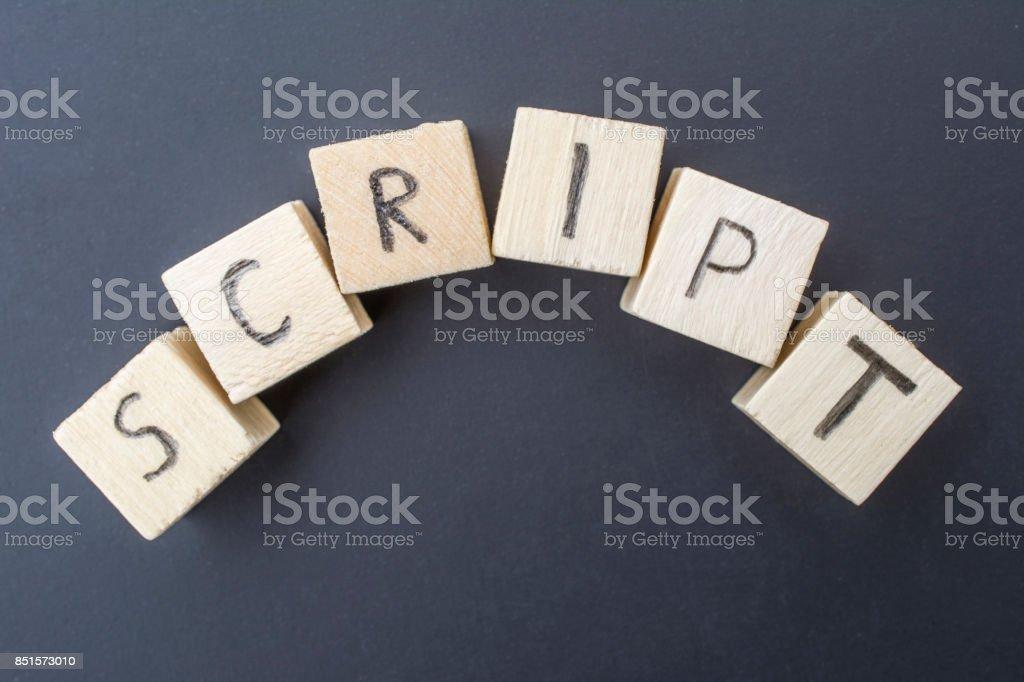 Script concept close-up on blackboard background stock photo