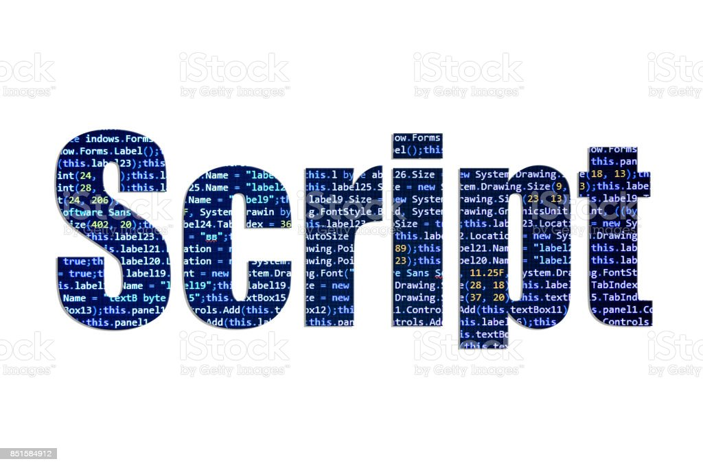 Script concept on a white background stock photo