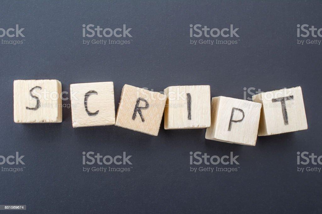 Script concept on blackboard background stock photo