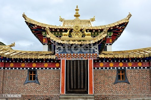 scripture hall of Zhaxiqulong Monastery, Gande County in Qinghai Province, China