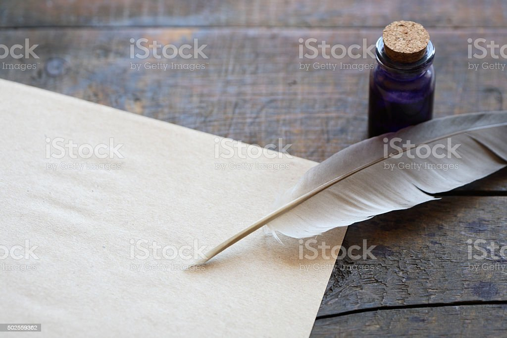 Scroll And Quill stock photo