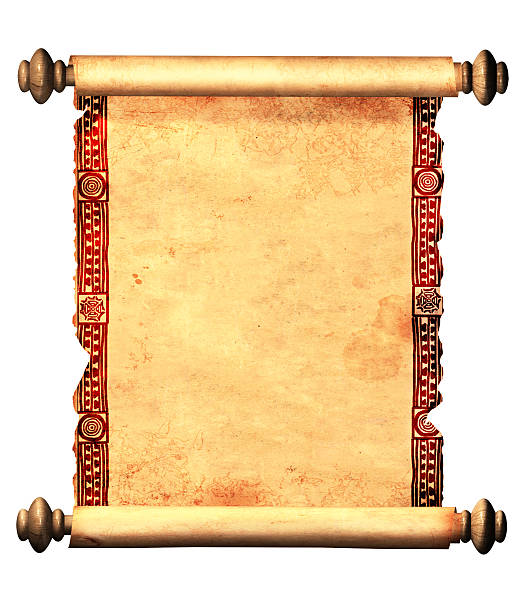Scroll of old parchment with decorative ornament stock photo