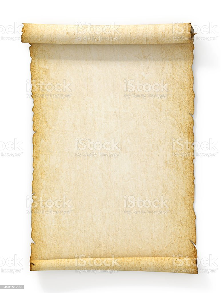 Scroll of old yellowed paper on white background. stock photo