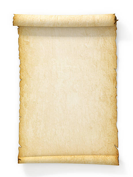 Scroll of old yellowed paper on white background. Scroll of old yellowed paper on white background. papyrus paper stock pictures, royalty-free photos & images