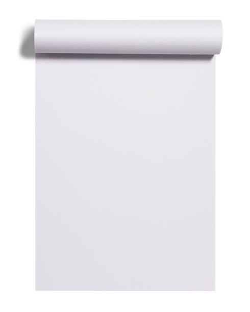 scroll of white paper sheet - scroll stock photos and pictures