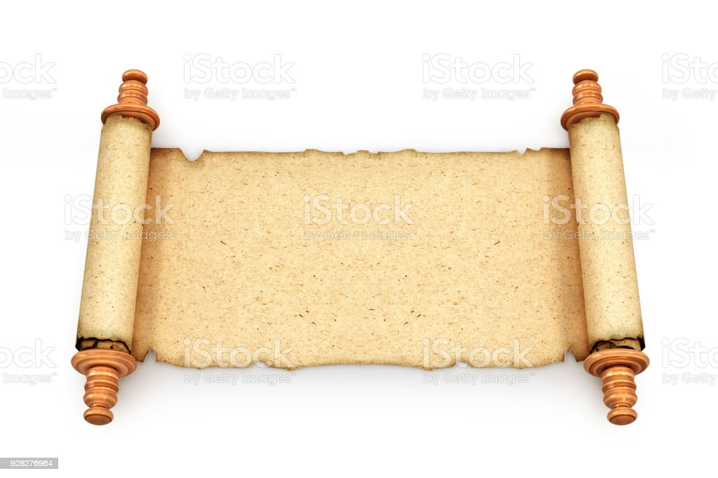 Scroll. Old paper isolated on white background. 3d illustration stock photo
