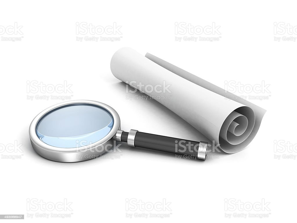 scroll white paper and magnifying glass stock photo