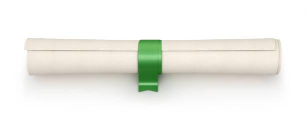 Faites défiler avec ruban coloré comme diplôme isolé sur blanc - Photo