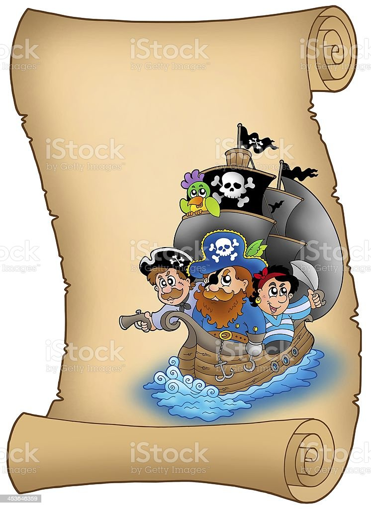 Scroll with saiboat and pirates royalty-free stock photo