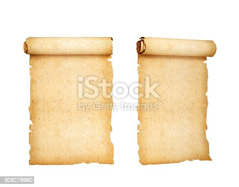 istock scrolling, old paper. 3d illustration 928279960