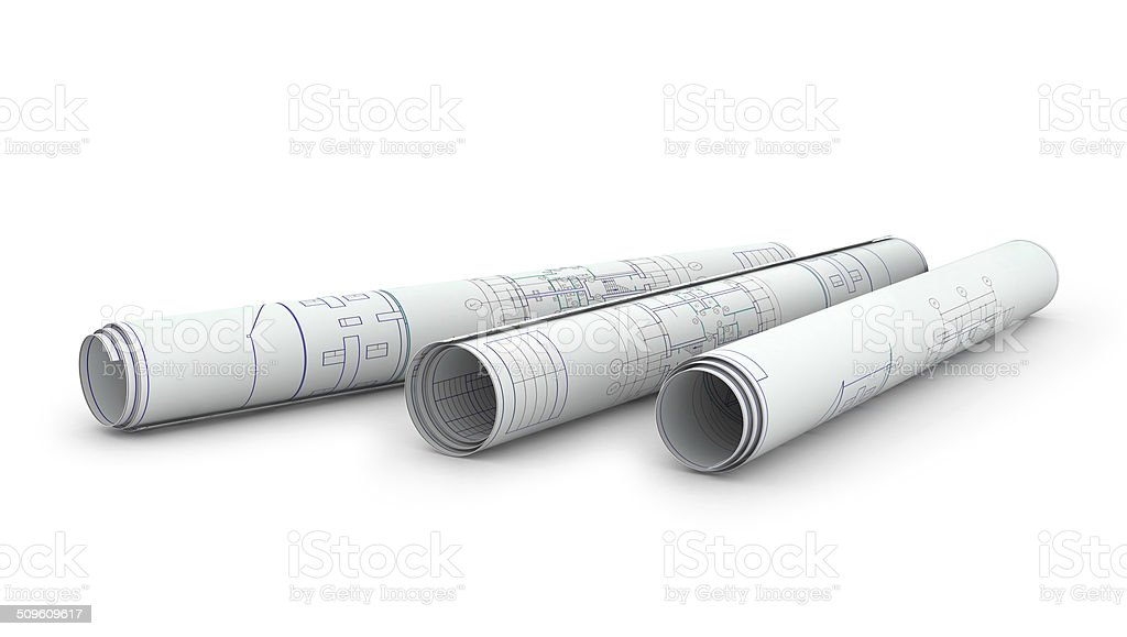 Scrolls of engineering drawings. Isolated render on a white background stock photo