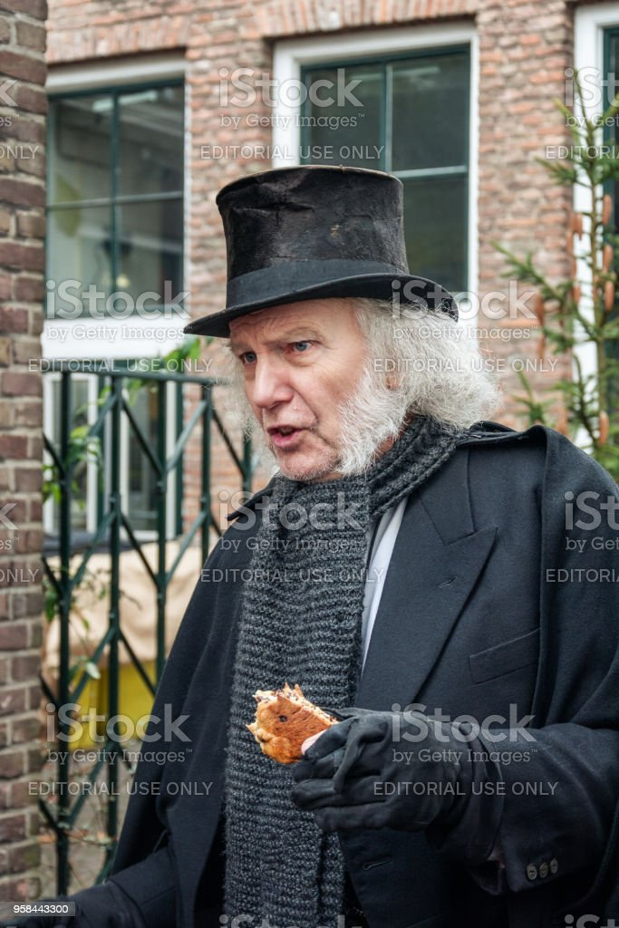 Scrooge acting during the Dickens Festival in Deventer stock photo