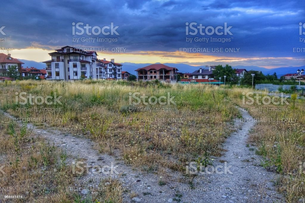 Scrub land and unfinished properties in Bansko, Bulgaria - Royalty-free Apartment Stock Photo