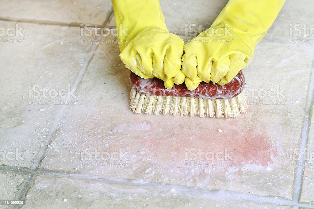 scrubbing the floor royalty-free stock photo