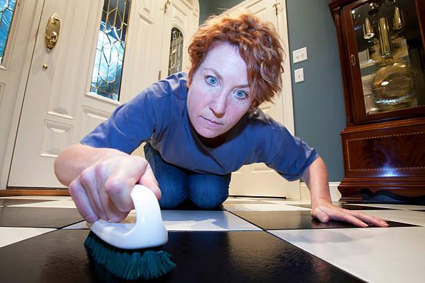 Scrubbing the Floor stock photo