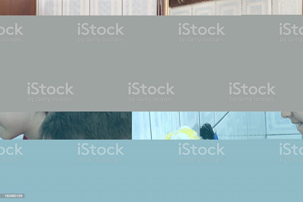 Scrubbing the wall royalty-free stock photo