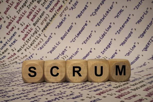 scrum - cube with letters and words from the computer, software, internet categories, wooden cubes stock photo