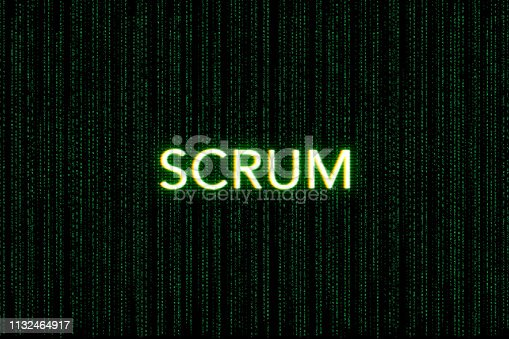 862615830 istock photo scrum, keyword of agile, on a green matrix background 1132464917