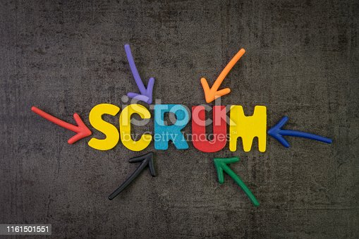 istock Scrum master method for agile software development concept, multi color arrows pointing to the word Scrum at the center of black cement chalkboard wall, allows a team to make changes quickly 1161501551