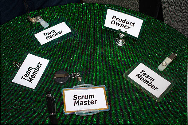 Scrum master, Product owner and team member  Badges stock photo