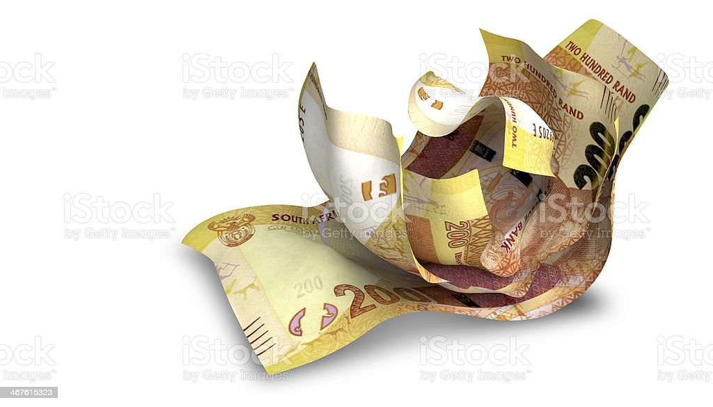 Scrunched Up South African Rand Notes stock photo