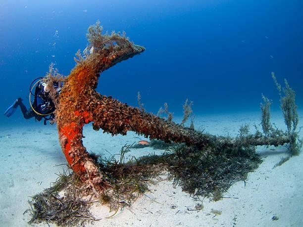 scuba diver & anchor stock photo