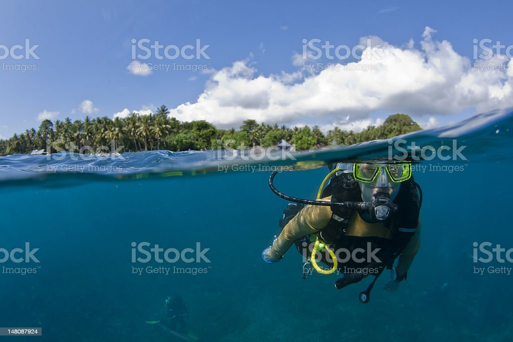 Scuba diver at the surface stock photo