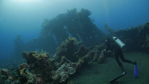 scuba diver diving in shipwreck usat liberty, bali, indonesia - artificial reef stock pictures, royalty-free photos & images